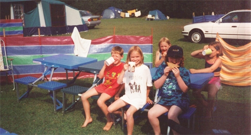 Children enjoying camping